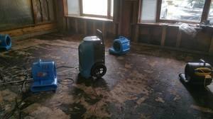 Roof Leak Damage Restoration In Progress