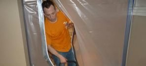 Water Damage White Settlement Technician Using Air Mover Near Vapor Barrier